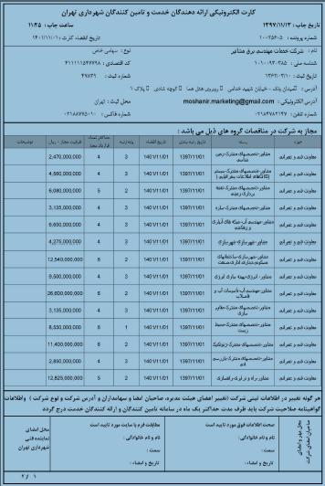 کارت الکترونیکی ارائه دهندگان خدمت و تامین کنندگان شهرداری تهران